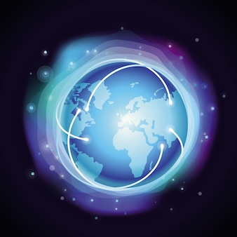 Vector internet concept - glowing globe - abstract background in blue color