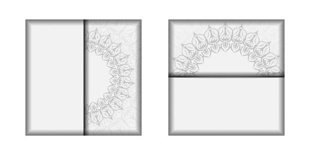 텍스트 및 빈티지 장식에 대 한 장소를 가진 벡터 초대 카드 템플릿. 엽서 디자인 만다라 장식이 있는 흰색 색상입니다.