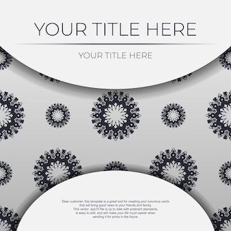 Vector invitation card template with place for your text and vintage ornaments. white postcard design with greek ornament.