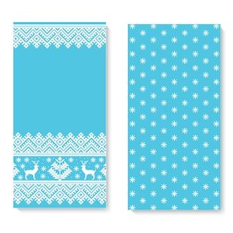 Вектор пригласительный билет с народным орнаментом образца. этнический новогодний синий орнамент с соснами и оленями. классный этнический бордюрный элемент для вашего дизайна.