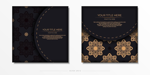 Vector invitation card with greek patterns.stylish ready to print postcard design in black color with vintage