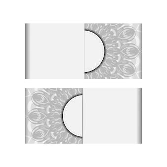텍스트와 검은색 장식품을 위한 장소가 있는 벡터 초대 카드. 엽서 디자인 만다라와 흰색 색상입니다. 프리미엄 벡터