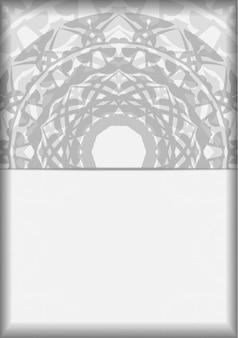 あなたのテキストとギリシャの装飾品のための場所とベクトルの招待状。はがきのデザイン黒の曼荼羅模様の白い色。