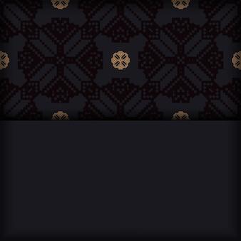 Вектор пригласительный билет с местом для текста и старинных украшений. дизайн открытки черного цвета со словенскими узорами.