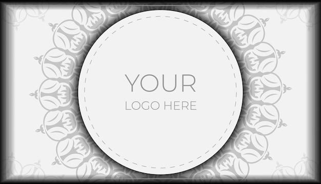 텍스트 및 빈티지 패턴에 대 한 장소를 가진 벡터 초대 카드. 바로 인쇄할 수 있는 엽서 디자인 만다라가 있는 흰색 색상.