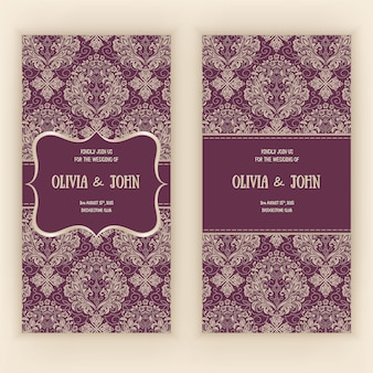 Vector invitation, cards or wedding card with damask and elegant floral elements.