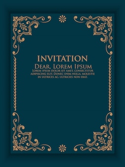 Vector invitation, cards with ethnic arabesque elements.