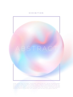 Vector iridescent or holographic pearl poster brochure or book cover template