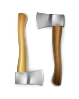 Vector iron axes with brown, ocher wooden handles front view isolated on white background