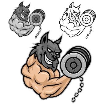 Vector is a wolf, a fan of bodybuilding, format eps 10