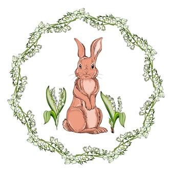 Vector isolated cartoon hare