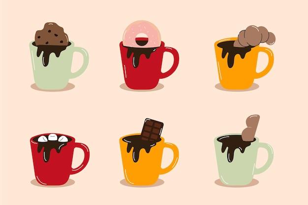 Вектор изолированные чашки кофе вид сбоку сладости на вершине кофе