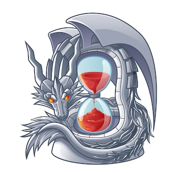 Vector isolated dragon of sand timer.
