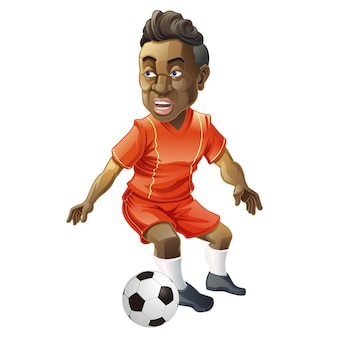 Vector isolated football player character and ball in cartoon style.