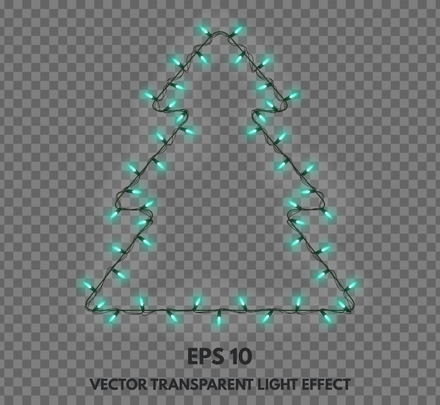 Vector isolated garland decorations in the shape of christmas trees