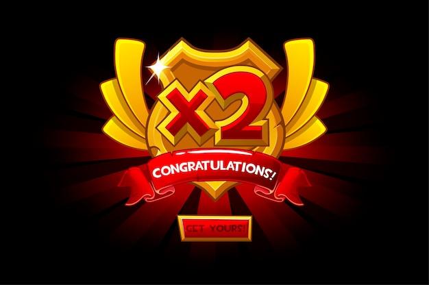 Вектор изолированный золотой щит с бонусом числа. мультяшная награда победителю и поздравления.