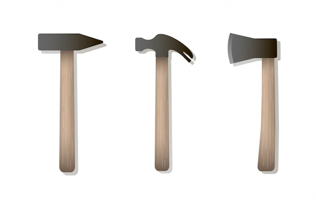 Vector isolated icons of hammer