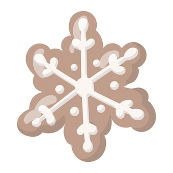 Vector isolated illustration of a christmas gingerbread cookie in the shape of a snowflake with white glaze.