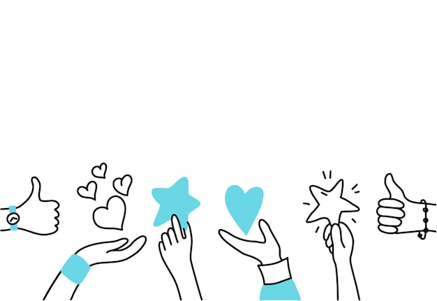 Vector isolated illustration of hands holding feedback symbols. customer review. user satisfaction.