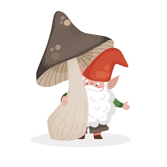 Vector isolated illustration of a little bearded gnome under a large brown mushroom