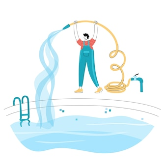 Vector isolated illustration of man filling the swimming pool with water flowing from the hose.