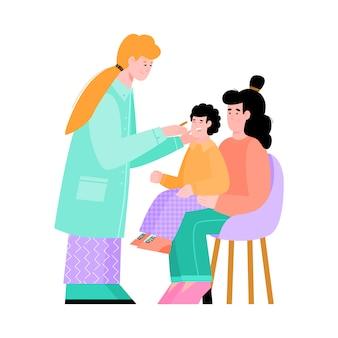 小児科医と相談して家族の分離ベクトルイラスト