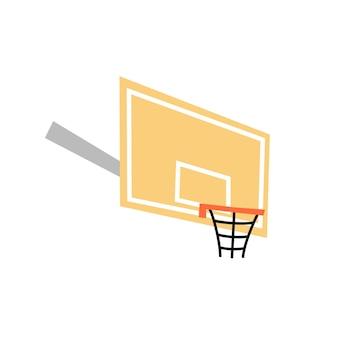 Векторная иллюстрация изолированных баскетбольного кольца со значком щита. оборудование для баскетбольной площадки
