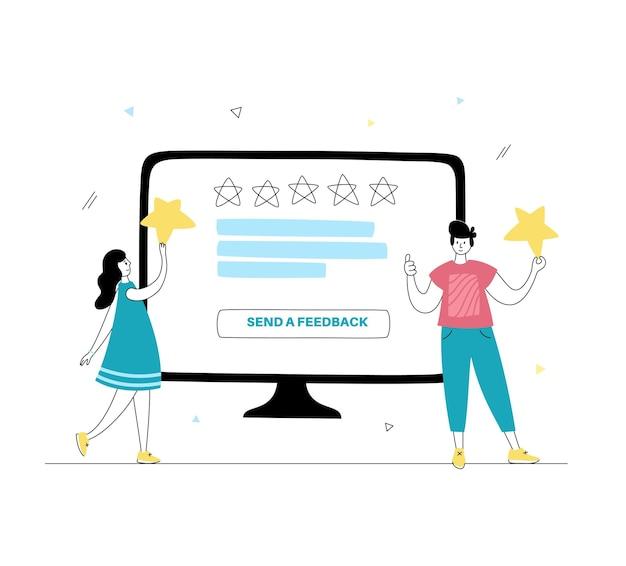 고객이 만족도 평가를 선택하고 리뷰를 남기는 벡터 격리된 그림입니다.