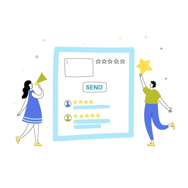 온라인 검토 및 고객 경험 개념의 벡터 격리된 그림입니다.
