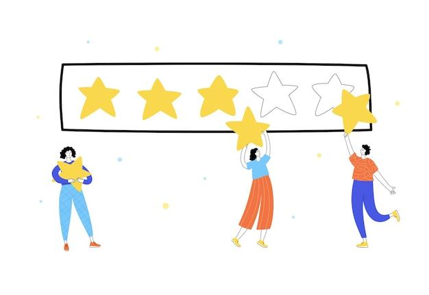 서서 별을 들고 있는 사람들의 벡터 격리된 그림입니다. 피드백 및 고객 리뷰.