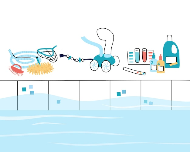水泳うんちケアツールと機器のベクトル分離イラスト。