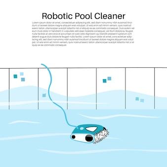수영장 자동화 로봇식 진공 청소기의 벡터 격리된 그림입니다.