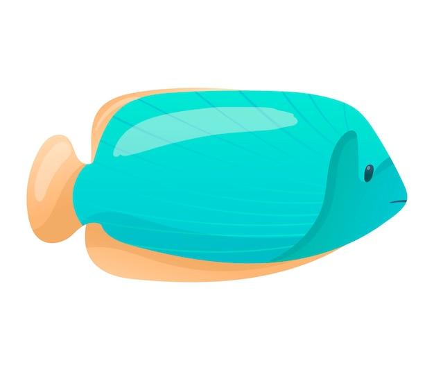 Изолированная иллюстрация вектора на белой предпосылке. мультяшная яркая рыба с синей чешуей и оранжевыми плавниками. изображение морской жизни в градиентном цвете.