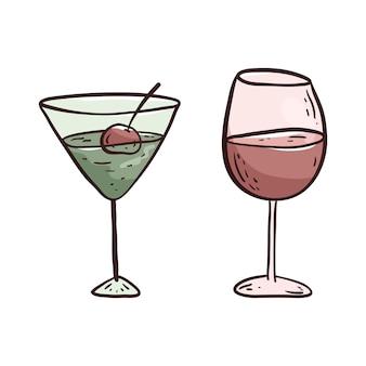 白い背景の上のベクトル分離イラスト。グラス1杯のワインまたはジュースとグラス1杯のアルコールカクテルの落書き写真。デザイン要素