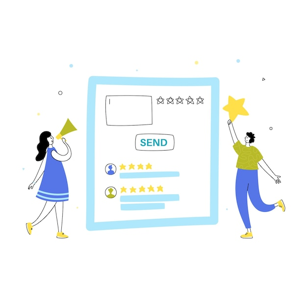 Vector isolated illustration of online review and customer experience concept.