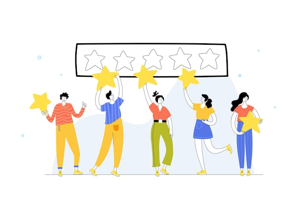 Vector isolated illustration of people standing and holding star. feedback and customer review.