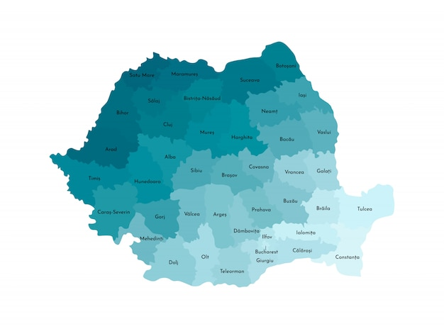 Vector isolated illustration of simplified administrative map of romania. borders and names of the counties. colorful blue khaki silhouettes
