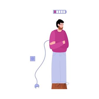 Vector isolated illustration of a tired unplug sad man