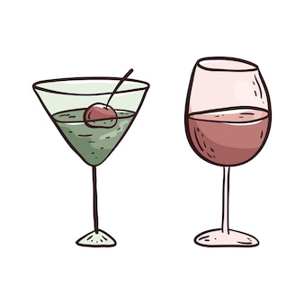 Vector isolated illustration on white background. doodle picture of a glass of wine or juice and a glass of alcoholic cocktail. design element