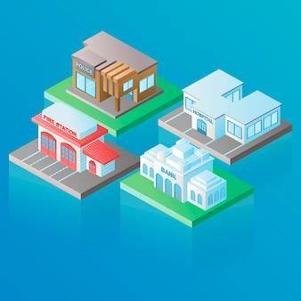 아이소메트릭에서 벡터 고립 된 이미지입니다. 체적 은행, 소방서, 경찰, 병원 건물, 건축 및 현대 도시의 개념. 현대 생활을 테마로 장식 요소를 디자인합니다.