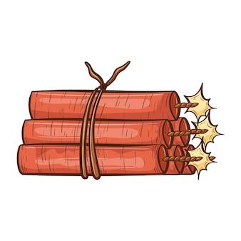 흰색 배경에 벡터 격리 개요 그림입니다. 빨간색 다이너마이트 또는 폭발물 묶음의 낙서 이미지. 서구 세계의 만화 카우보이 디자인 요소입니다.
