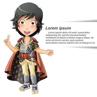 Vector isolated person in samurai suit.