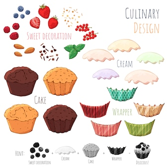 Vector isolated products for cooking cupcakes.
