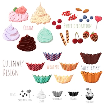 Vector isolated products for cooking sweet baskets.