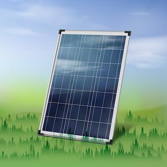 Il pannello solare isolato di vettore si chiude in su sull'erba verde sopra il cielo nuvoloso blu