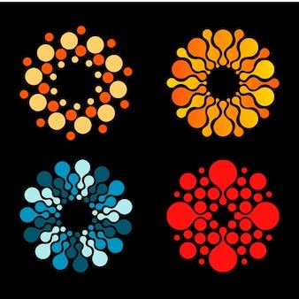 Вектор изолированных солнце логотип дизайн шаблона абстрактные точки символ значок круглой формы красочные логотипы набор