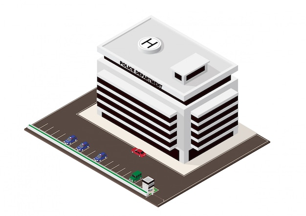 Vector isometric building of police department