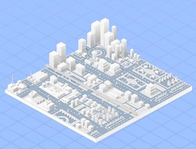 Vector isometric center of the city