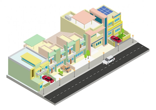 Vector isometric cluster area house building