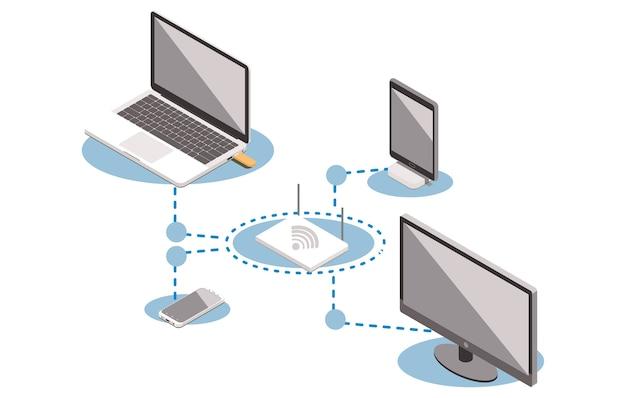 Векторная изометрическая концепция интернет-сети